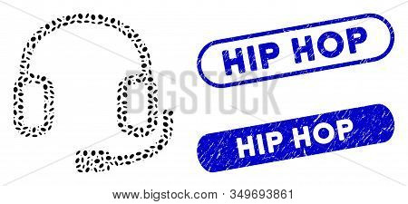 Mosaic Headset And Distressed Stamp Seals With Hip Hop Phrase. Mosaic Vector Headset Is Designed Wit
