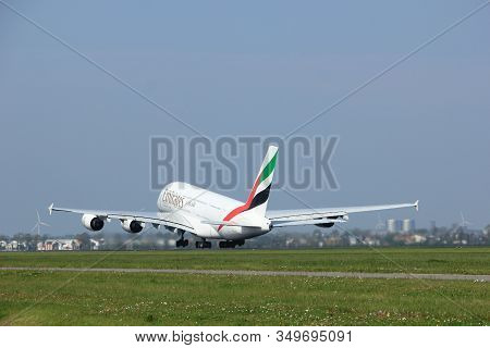 Amsterdam The Netherlands - May 6th, 2017: A6-eex Emirates Airbus A380-800 Takeoff From Polderbaan R