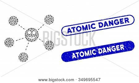 Mosaic Smile Network And Grunge Stamp Seals With Atomic Danger Caption. Mosaic Vector Smile Network