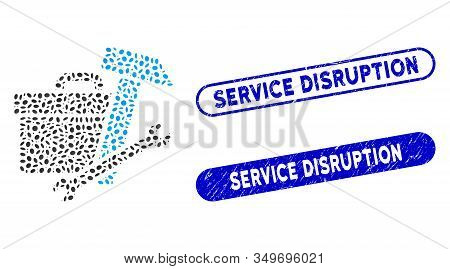 Mosaic Toolbox And Grunge Stamp Seals With Service Disruption Phrase. Mosaic Vector Toolbox Is Forme