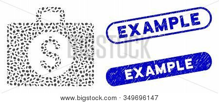 Mosaic Accounting Case And Distressed Stamp Seals With Example Caption. Mosaic Vector Accounting Cas