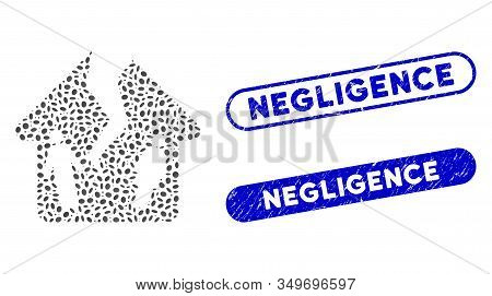 Mosaic Divorce House And Distressed Stamp Watermarks With Negligence Caption. Mosaic Vector Divorce