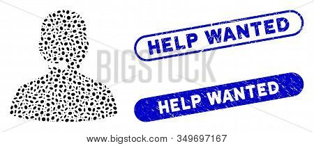 Mosaic Call Center And Rubber Stamp Seals With Help Wanted Caption. Mosaic Vector Call Center Is Cre