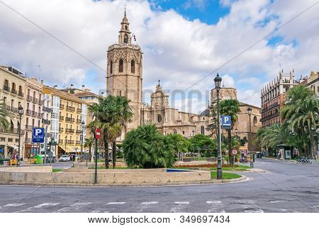Valencia, Spain - November 3, 2019: Plaza De La Reina And The Roman Catholic Parish Church Cathedral