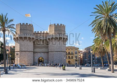 Valencia, Spain - November 3, 2019: One Of The Most Frequented Attractions Towers Of Serranos Or Ser