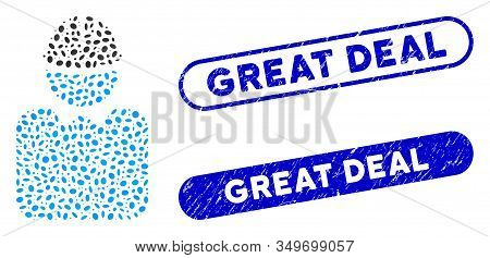 Mosaic Engineer And Corroded Stamp Seals With Great Deal Text. Mosaic Vector Engineer Is Composed Wi