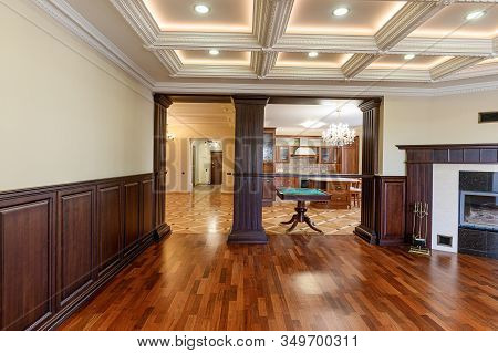 Russia, Moscow- October 10, 2019: Interior Room Apartment Modern Bright Cozy Atmosphere. General Cle
