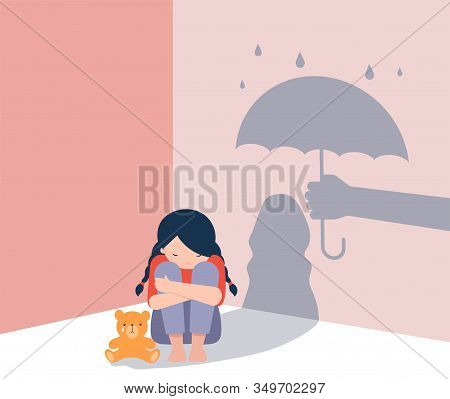 Sad Little Girl With Teddy Bear Sitting On Floor, Shadow On The Wall Is A Hand With Umbrella Protect