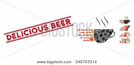 Mosaic Express Coffee Pictogram And Red Delicious Beer Stamp Between Double Parallel Lines. Flat Vec