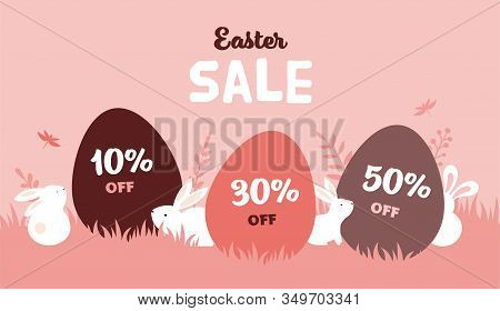 Happy Easter Banner With Bunny, Flowers And Eggs. Egg Hunt Poster. Spring Background, Vector Illustr