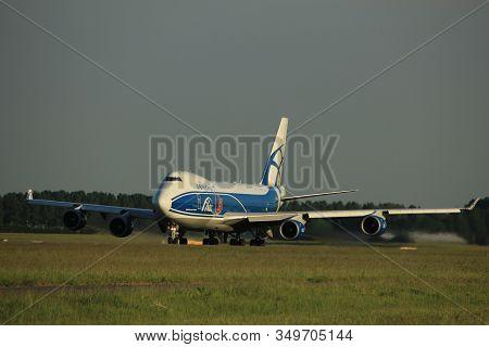 Amsterdam, The Netherlands  - June 1st, 2017: Vq-buu Airbridgecargo Boeing 747-400f Taking Off From