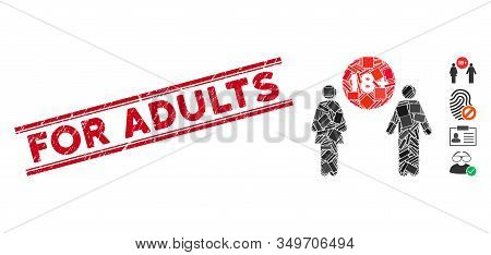 Mosaic For Adults Pictogram And Red For Adults Seal Stamp Between Double Parallel Lines. Flat Vector