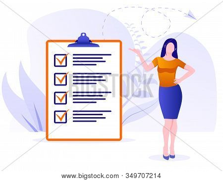 Businesswoman Checklist Concept. Business Woman Nearby Marked Checklist On A Clipboard Paper. Succes