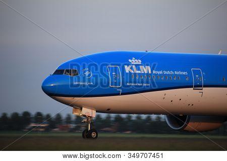 Amsterdam, The Netherlands  - June 1st, 2017: Ph-bvs Klm Royal Dutch Airlines Boeing 777-300 Taking
