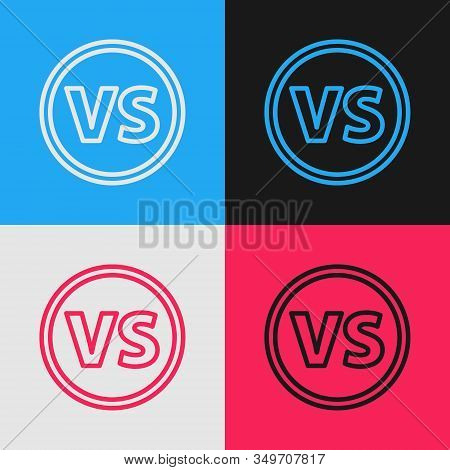 Color Line Vs Versus Battle Icon Isolated On Color Background. Competition Vs Match Game, Martial Ba