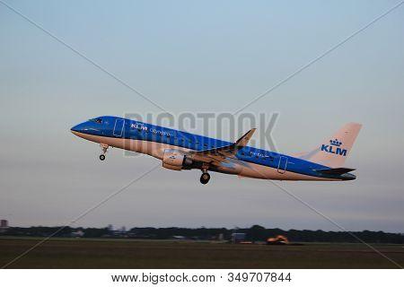 Amsterdam, The Netherlands  - June 1st, 2017: Ph-exl Klm Cityhopper Embraer Erj-175 Taking Off From