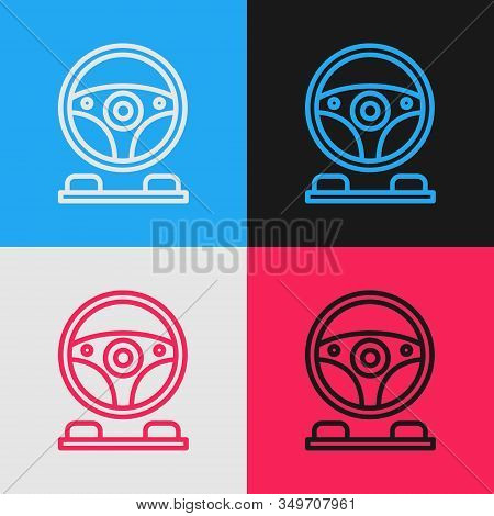 Color Line Racing Simulator Cockpit Icon Isolated On Color Background. Gaming Accessory. Gadget For