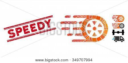 Mosaic Bolide Car Wheel Icon And Red Speedy Stamp Between Double Parallel Lines. Flat Vector Bolide