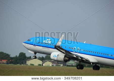 Amsterdam, The Netherlands  -  June 2nd, 2017:  Ph-bxn Klm Royal Dutch Airlines Boeing 737-800 Takin