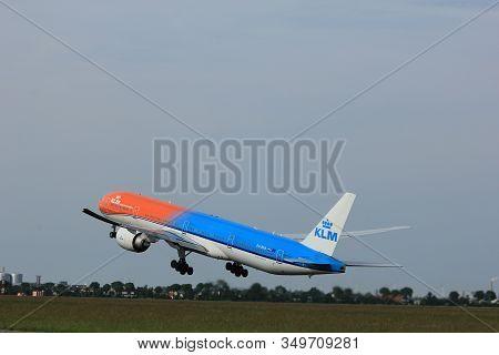Amsterdam, The Netherlands  -  June 2nd, 2017: Ph-bva Klm Royal Dutch Airlines Boeing 777-300 Taking
