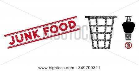 Mosaic Junk Icon And Red Junk Food Seal Stamp Between Double Parallel Lines. Flat Vector Junk Mosaic