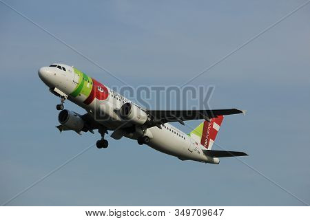 Amsterdam, The Netherlands  -  June 2nd, 2017: Cs-tnn Tap - Air Portugal Airbus A320 Taking Off From