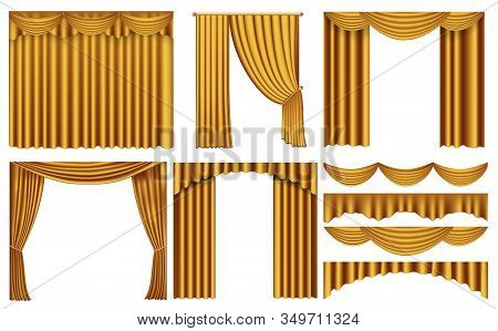 Golden Luxury Curtains And Draperies Interior Decoration. Set Of Realistic Luxury Curtains Of Gold F