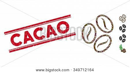 Mosaic Cacao Beans Icon And Red Cacao Seal Stamp Between Double Parallel Lines. Flat Vector Cacao Be
