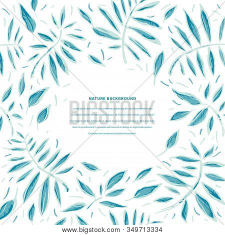 Nature Vector Background. Tropical Grunge Sketch Pattern With Leaves In Blue Colors. Exotic Stylized