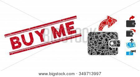 Mosaic Spend Cash Pictogram And Red Buy Me Stamp Between Double Parallel Lines. Flat Vector Spend Ca