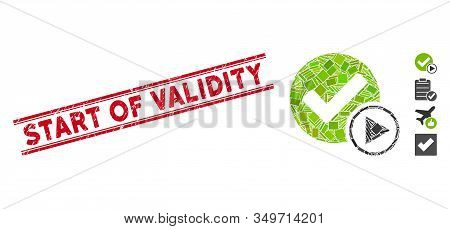 Mosaic Start Of Validity Icon And Red Start Of Validity Stamp Between Double Parallel Lines. Flat Ve