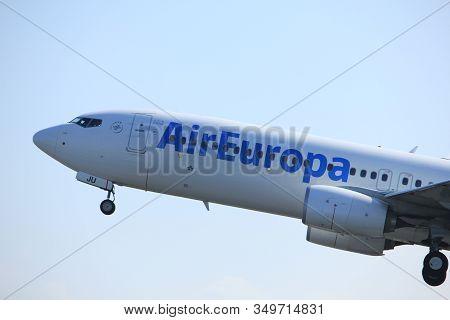 Amsterdam The Netherlands - April 2nd, 2017: Ec-mju Air Europa Boeing 737 Takeoff From Polderbaan Ru