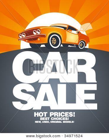 Car sale design template with retro car.