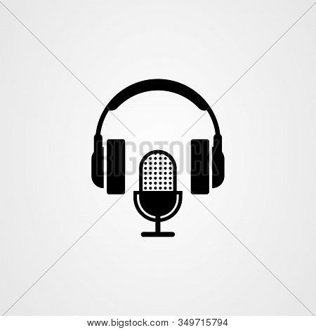 Microphone And Headphone Icon. Podcast Or Radio Logo Design.
