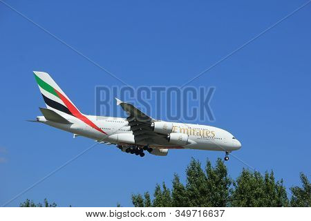 Amsterdam The Netherlands - July 9th 2017: A6-eua Emirates Airbus A380-800 Approaching Schiphol Amst