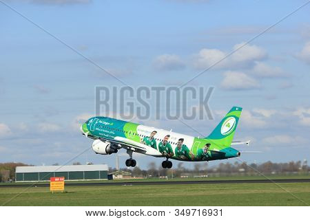 Amsterdam The Netherlands - April 7th, 2017: Ei-dei Aer Lingus Airbus A320-200 Takeoff From Polderba
