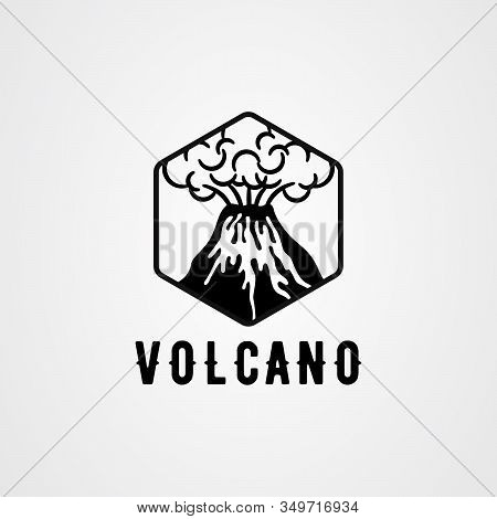 Volcanic Eruption With Lava And Smoke Vector Illustration In Black And White Color.