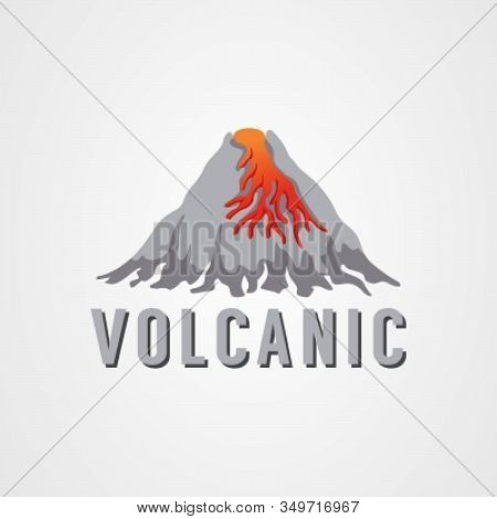 Volcanic Eruption With Lava Flat Vector Illustration