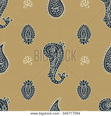 Hand Drawn Paisley Ethnic Seamless Vector Pattern On Ochre Background For Fabric, Wallpaper, Scrapbo