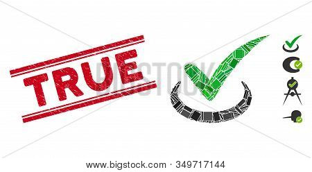Mosaic True Pictogram And Red True Seal Stamp Between Double Parallel Lines. Flat Vector True Mosaic