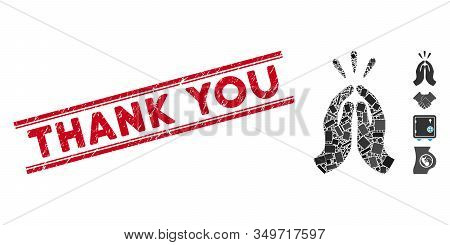 Mosaic Thank You Icon And Red Thank You Stamp Between Double Parallel Lines. Flat Vector Thank You M