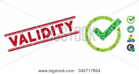Mosaic Validity Pictogram And Red Validity Seal Stamp Between Double Parallel Lines. Flat Vector Val
