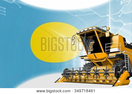 Digital Industrial 3d Illustration Of Yellow Advanced Rye Combine Harvester On Palau Flag - Agricult
