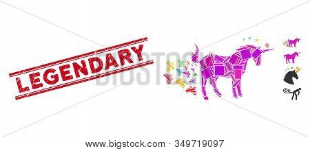 Mosaic Unicorn Farting Butterflies Icon And Red Legendary Rubber Print Between Double Parallel Lines