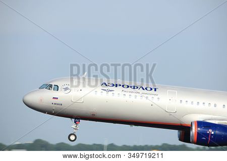 Amsterdam The Netherlands - July 6th, 2017: Vp-bfk Aeroflot - Russian Airlines Airbus A321 Takeoff F