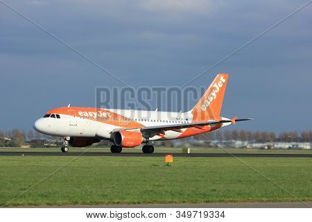 Amsterdam The Netherlands - April 7th, 2017: G-ezfo Easyjet Airbus A319-100 Takeoff From Polderbaan
