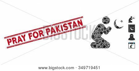 Mosaic Praying Muslim Pictogram And Red Pray For Pakistan Seal Stamp Between Double Parallel Lines.