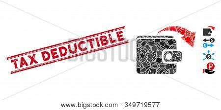 Mosaic Spend Money Pictogram And Red Tax Deductible Seal Between Double Parallel Lines. Flat Vector