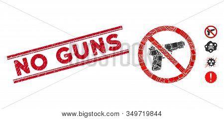 Mosaic No Guns Pictogram And Red No Guns Stamp Between Double Parallel Lines. Flat Vector No Guns Mo