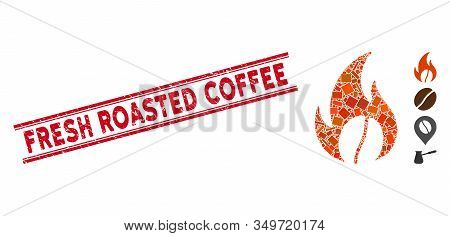Mosaic Roasted Coffee Pictogram And Red Fresh Roasted Coffee Stamp Between Double Parallel Lines. Fl